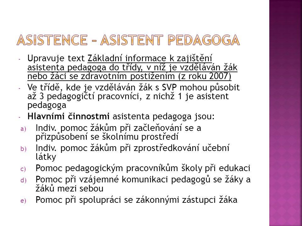 Asistence – asistent pedagoga