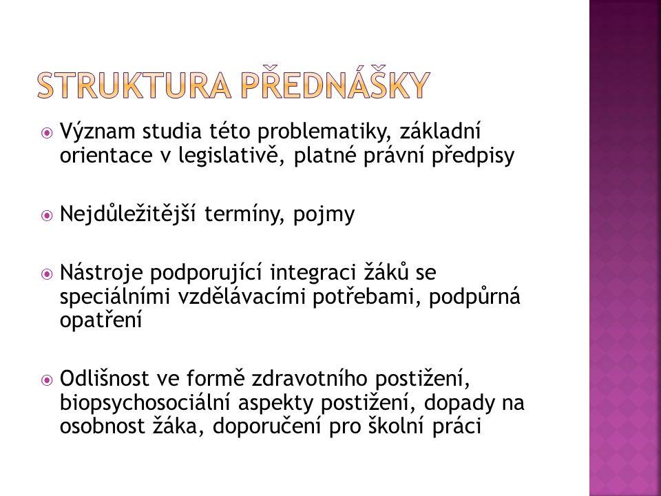 Struktura přednášky Význam studia této problematiky, základní orientace v legislativě, platné právní předpisy.