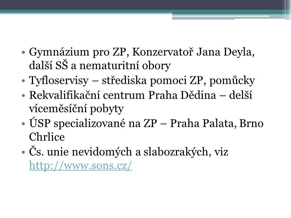 Gymnázium pro ZP, Konzervatoř Jana Deyla, další SŠ a nematuritní obory