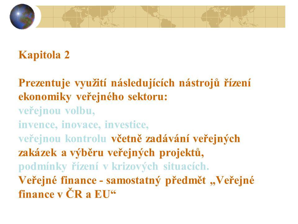 Kapitola 2 Prezentuje využití následujících nástrojů řízení ekonomiky veřejného sektoru: veřejnou volbu, invence, inovace, investice, veřejnou kontrolu včetně zadávání veřejných zakázek a výběru veřejných projektů, podmínky řízení v krizových situacích.