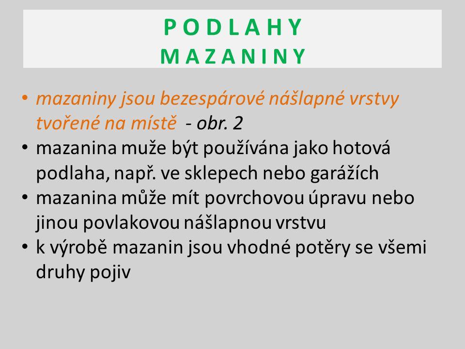 P O D L A H Y M A Z A N I N Y mazaniny jsou bezespárové nášlapné vrstvy tvořené na místě - obr. 2.