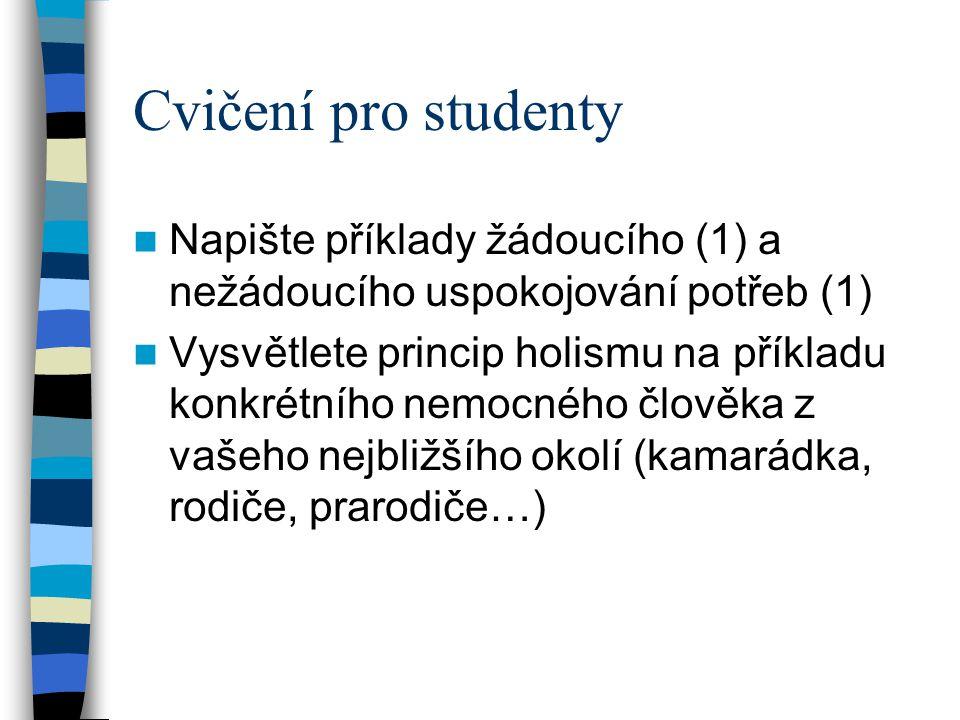 Cvičení pro studenty Napište příklady žádoucího (1) a nežádoucího uspokojování potřeb (1)