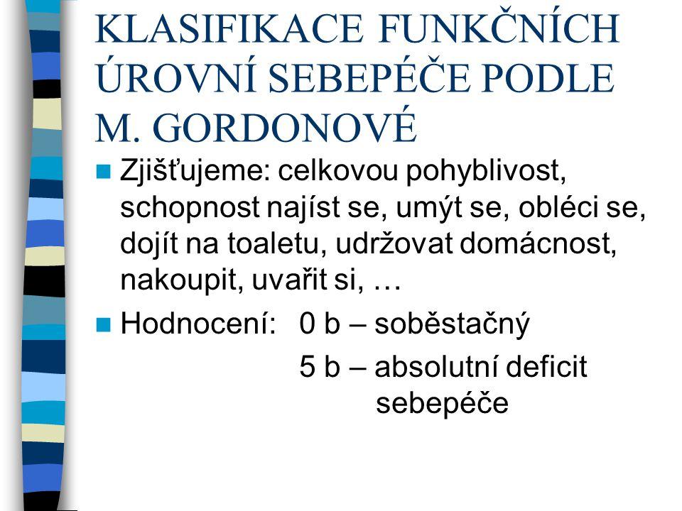 KLASIFIKACE FUNKČNÍCH ÚROVNÍ SEBEPÉČE PODLE M. GORDONOVÉ