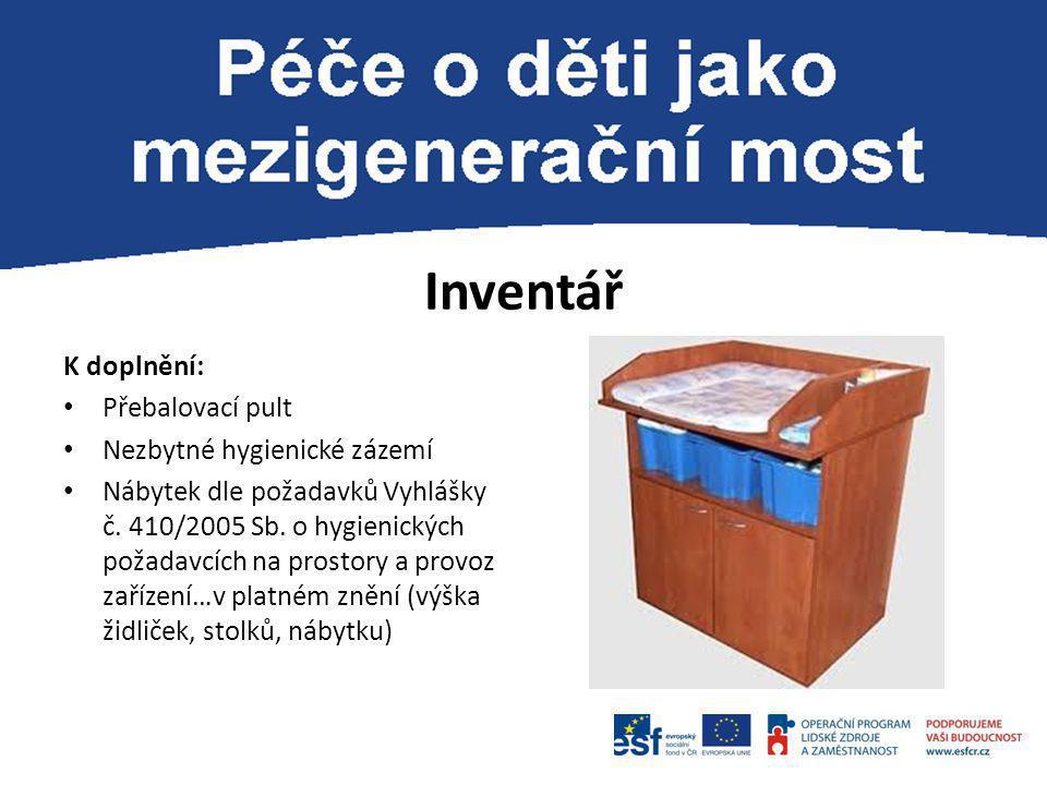 Inventář K doplnění: Přebalovací pult Nezbytné hygienické zázemí