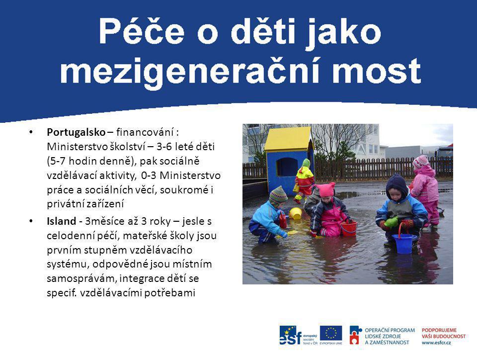 Portugalsko – financování : Ministerstvo školství – 3-6 leté děti (5-7 hodin denně), pak sociálně vzdělávací aktivity, 0-3 Ministerstvo práce a sociálních věcí, soukromé i privátní zařízení