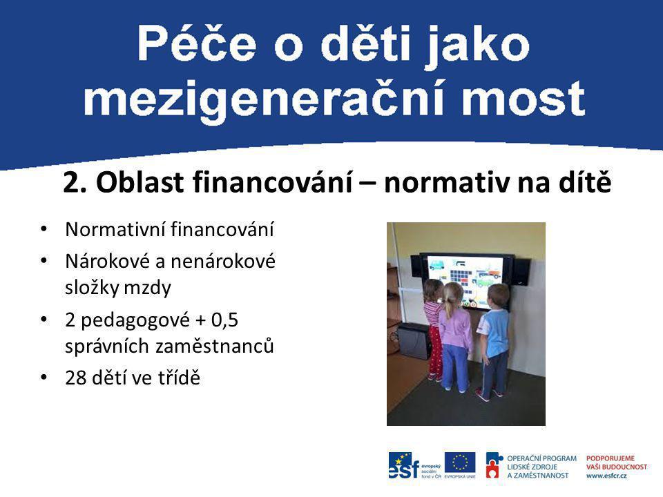 2. Oblast financování – normativ na dítě