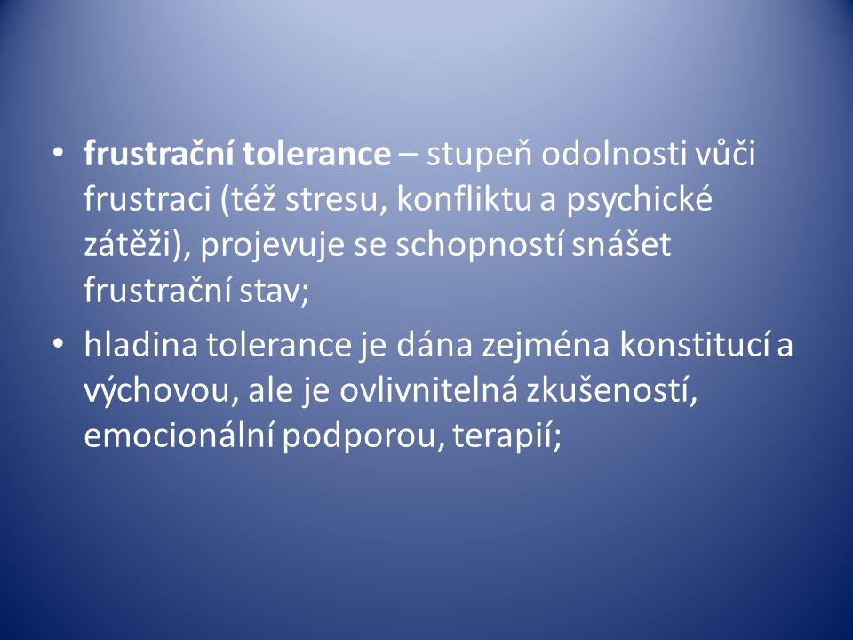frustrační tolerance – stupeň odolnosti vůči frustraci (též stresu, konfliktu a psychické zátěži), projevuje se schopností snášet frustrační stav;