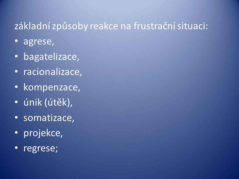 základní způsoby reakce na frustrační situaci: