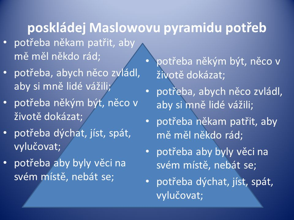 poskládej Maslowovu pyramidu potřeb
