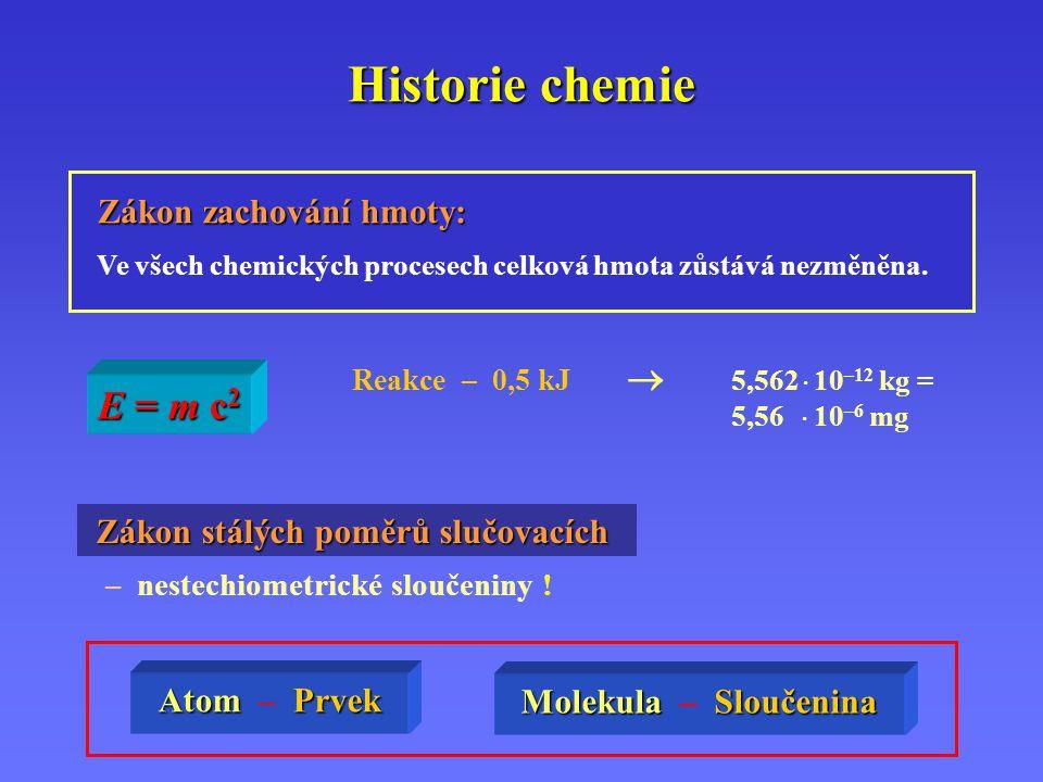 Historie chemie E = m c2 Zákon zachování hmoty: