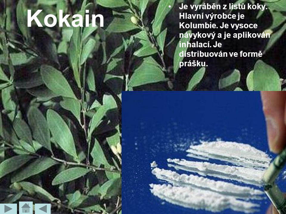 Kokain Je vyráběn z listů koky. Hlavní výrobce je Kolumbie.