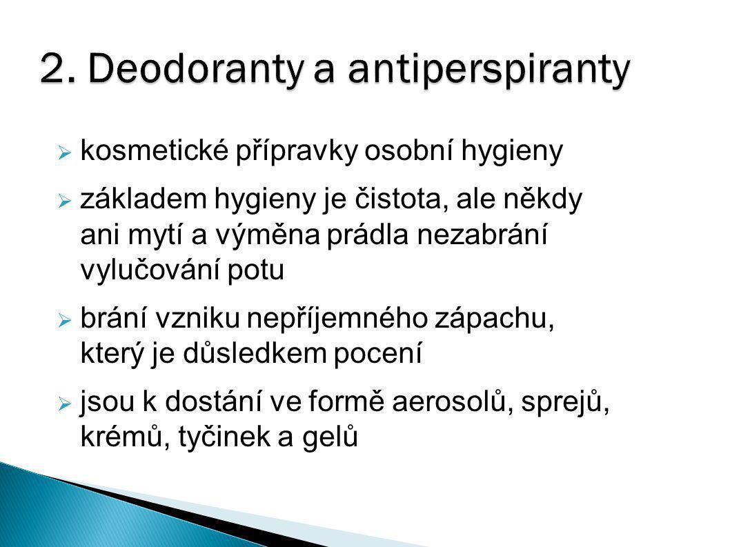 2. Deodoranty a antiperspiranty