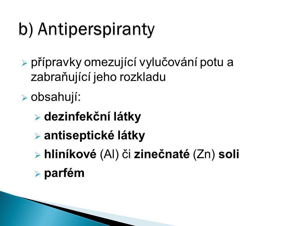 b) Antiperspiranty přípravky omezující vylučování potu a zabraňující jeho rozkladu. obsahují: dezinfekční látky.