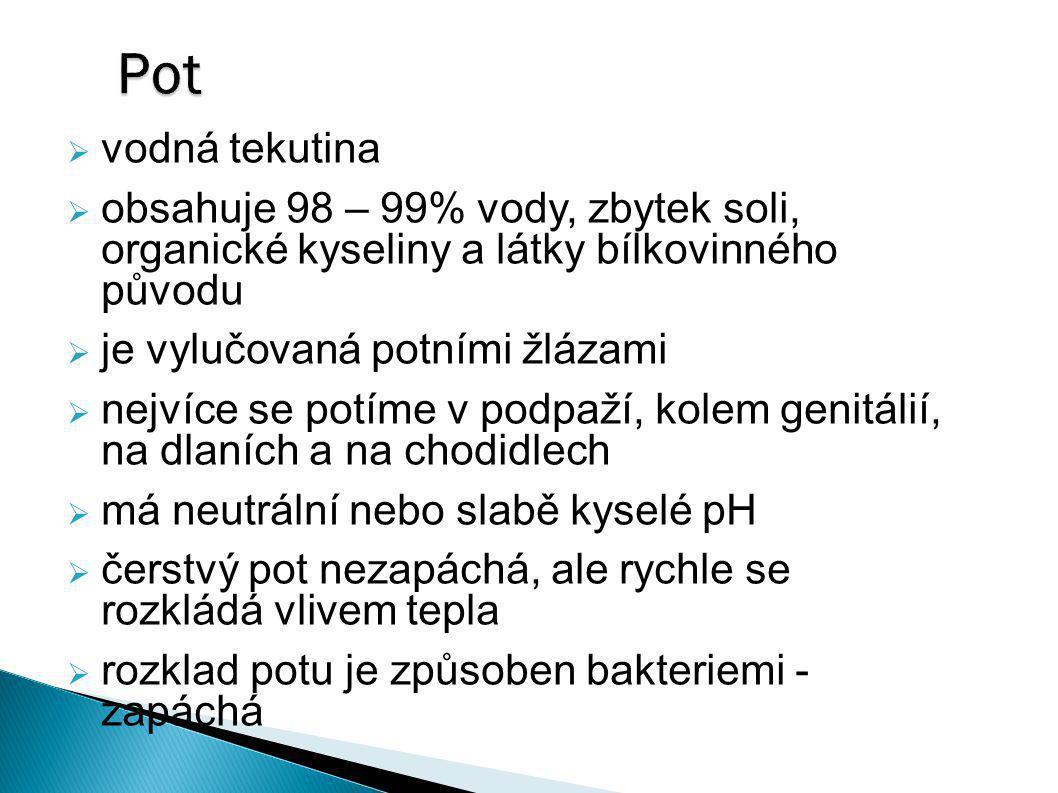 Pot vodná tekutina. obsahuje 98 – 99% vody, zbytek soli, organické kyseliny a látky bílkovinného původu.