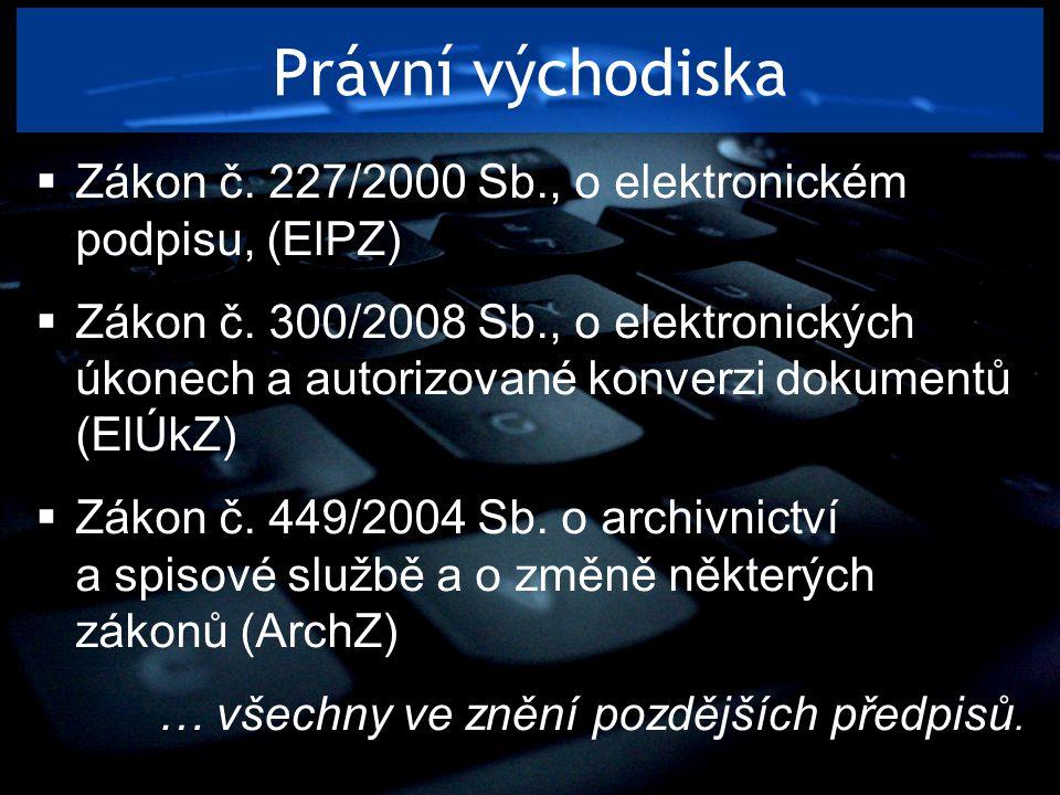 Právní východiska Zákon č. 227/2000 Sb., o elektronickém podpisu, (ElPZ)