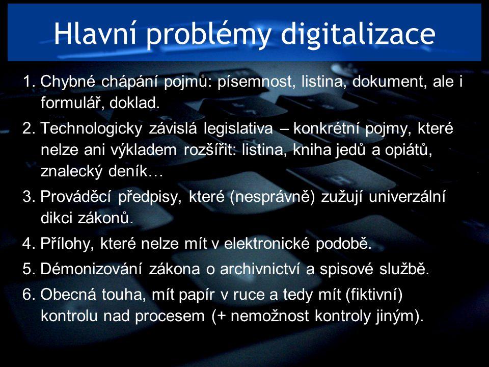 Hlavní problémy digitalizace