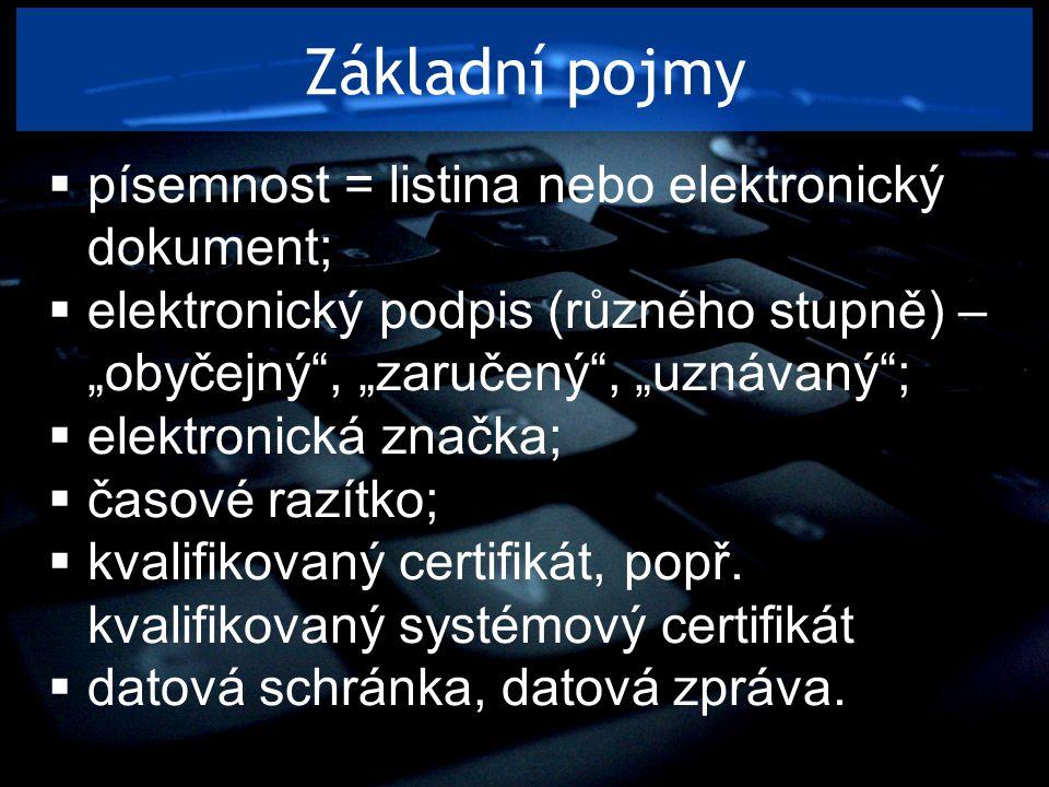Základní pojmy písemnost = listina nebo elektronický dokument;
