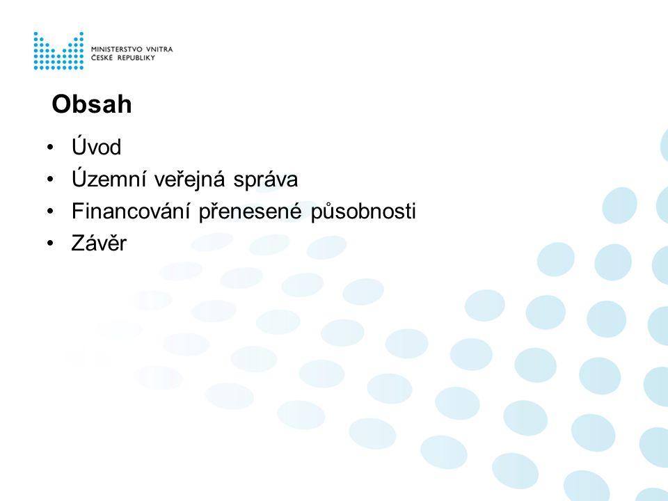 Obsah Úvod Územní veřejná správa Financování přenesené působnosti