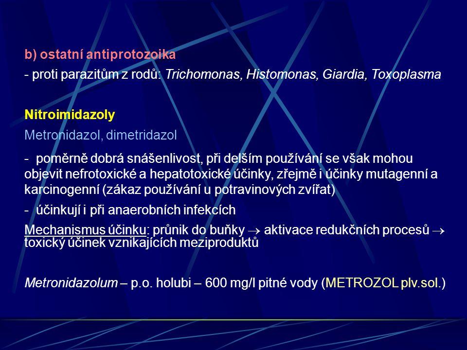 b) ostatní antiprotozoika