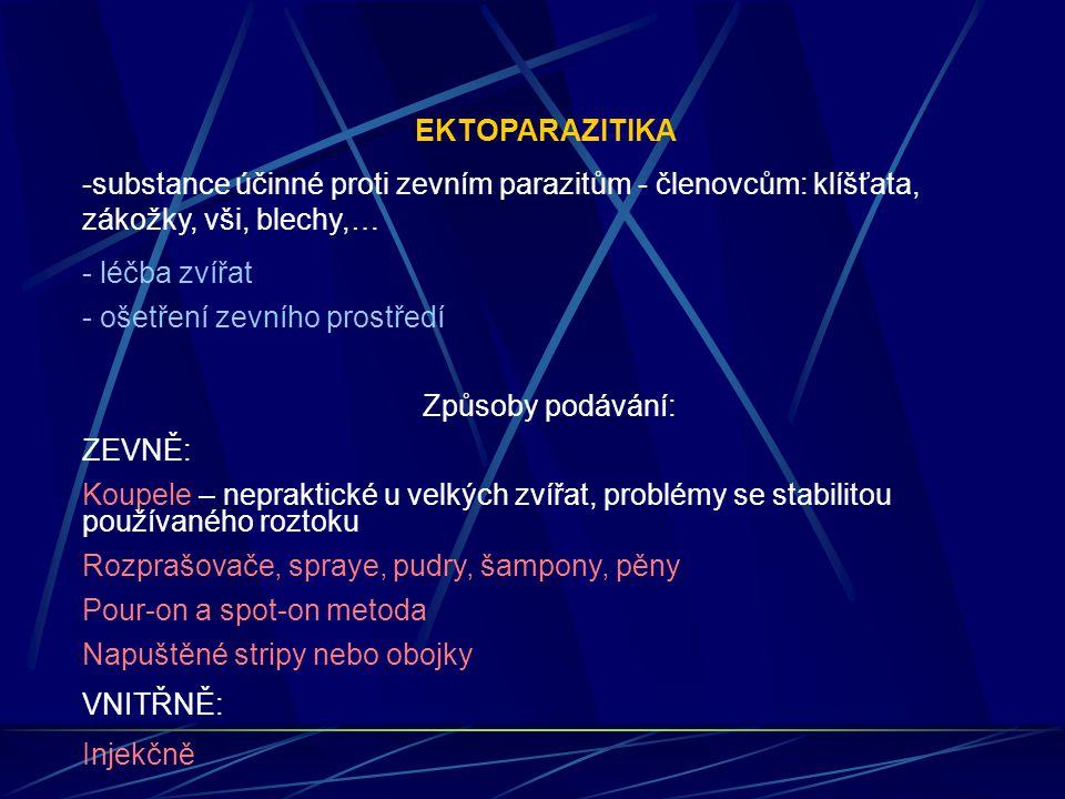 EKTOPARAZITIKA substance účinné proti zevním parazitům - členovcům: klíšťata, zákožky, vši, blechy,…