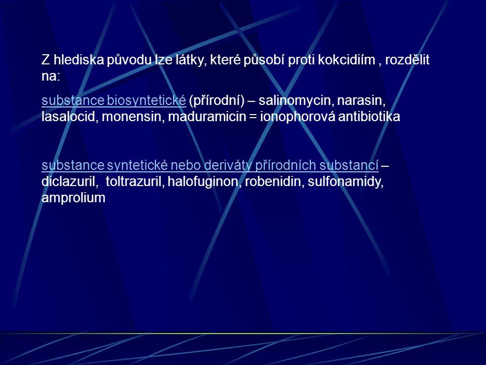 Z hlediska původu lze látky, které působí proti kokcidiím , rozdělit na: