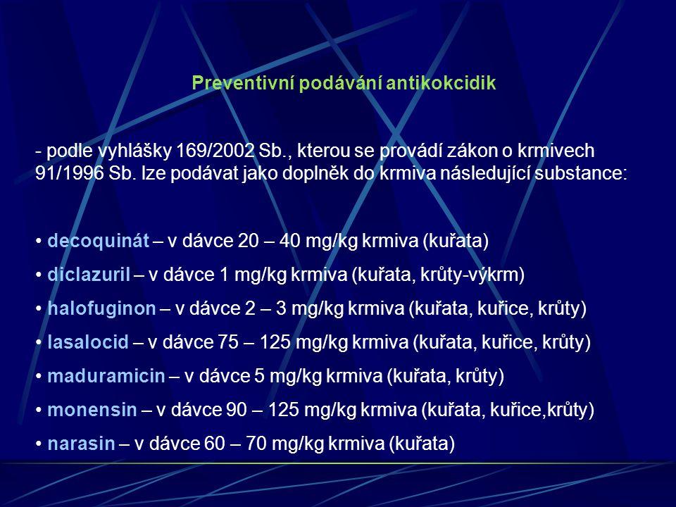 Preventivní podávání antikokcidik