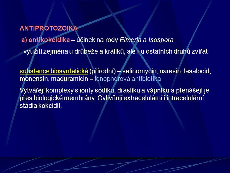 ANTIPROTOZOIKA a) antikokcidika – účinek na rody Eimeria a Isospora. využití zejména u drůbeže a králíků, ale i u ostatních druhů zvířat.