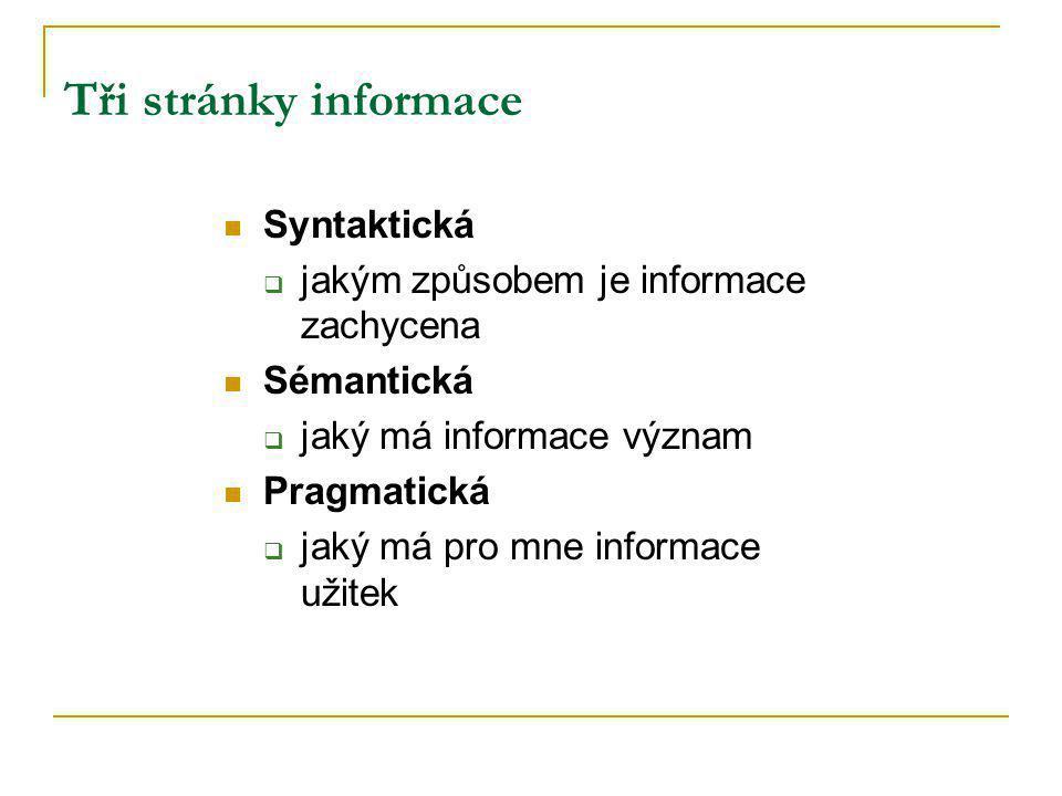 Tři stránky informace Syntaktická