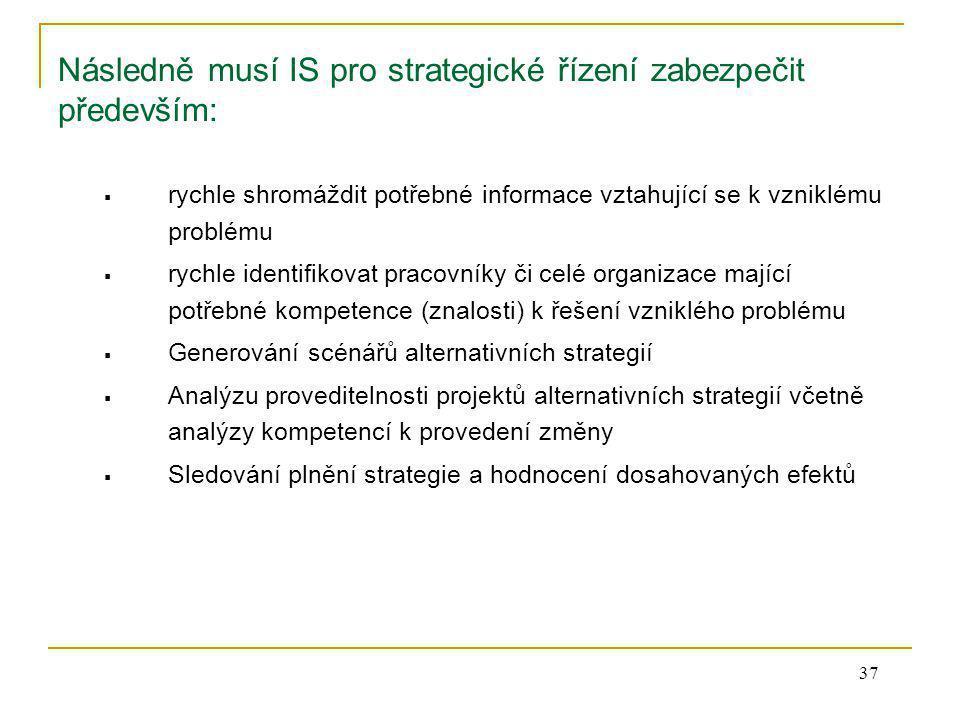 Následně musí IS pro strategické řízení zabezpečit především: