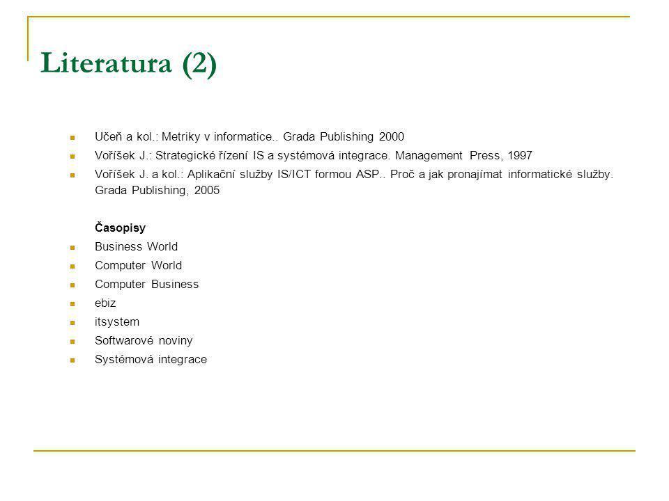 Literatura (2) Učeň a kol.: Metriky v informatice.. Grada Publishing 2000.