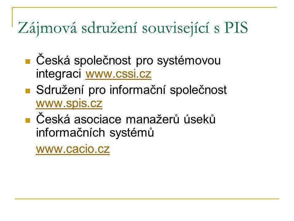 Zájmová sdružení související s PIS