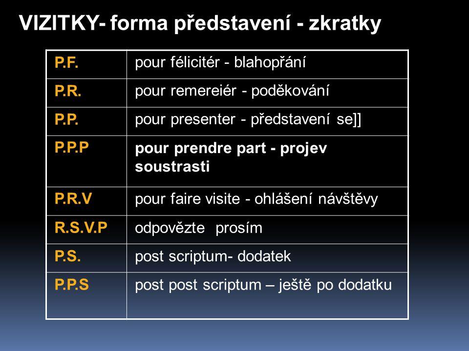 VIZITKY- forma představení - zkratky