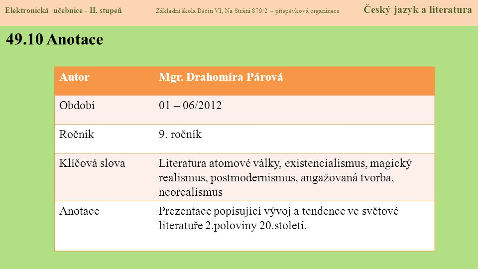 49.10 Anotace Autor Mgr. Drahomíra Párová Období 01 – 06/2012 Ročník