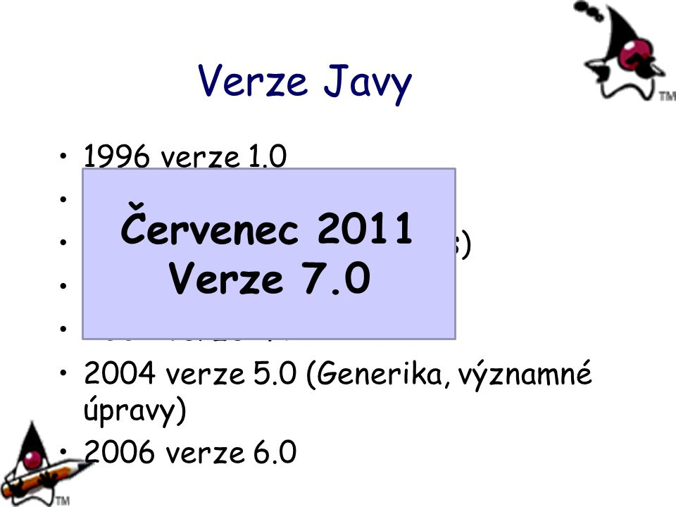 Verze Javy Červenec 2011 Verze 7.0 1996 verze 1.0