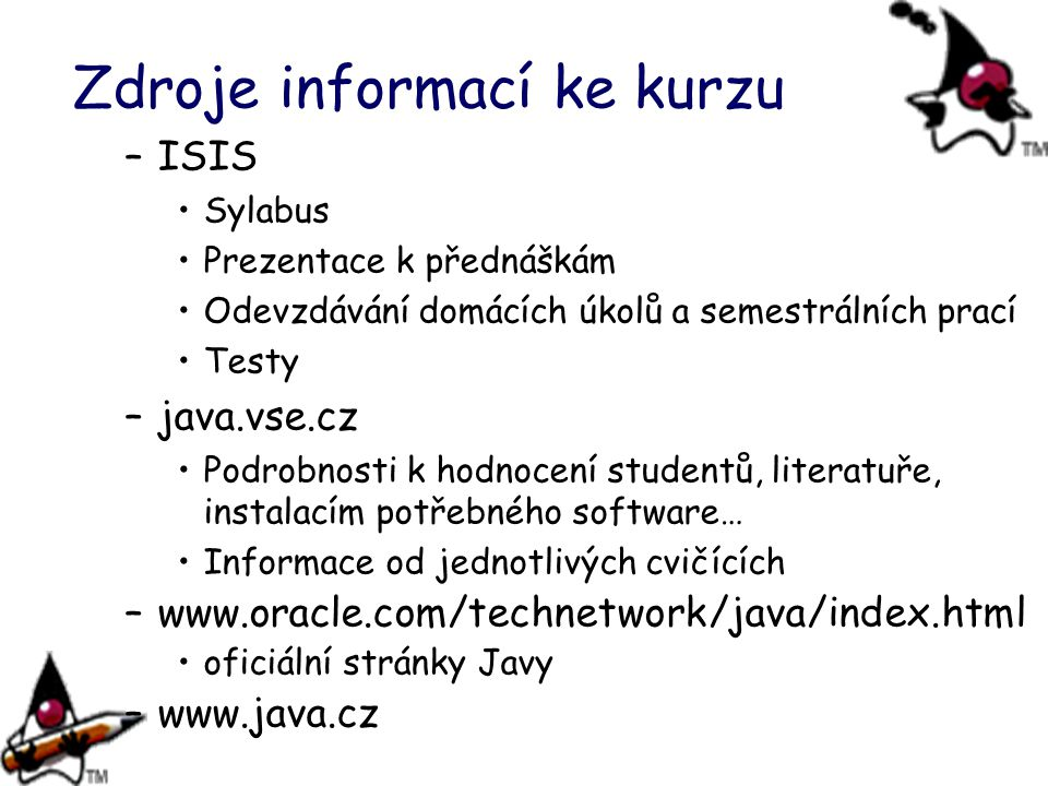 Zdroje informací ke kurzu