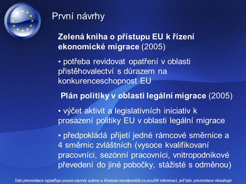 První návrhy Zelená kniha o přístupu EU k řízení ekonomické migrace (2005)