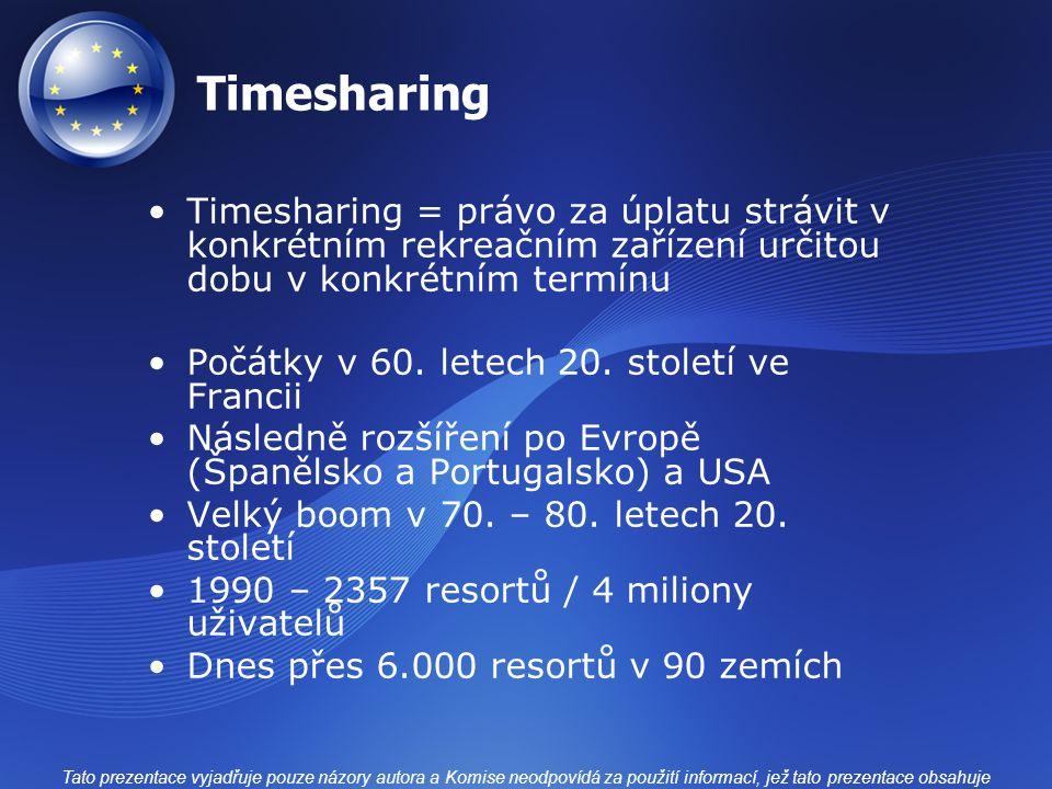 Timesharing Timesharing = právo za úplatu strávit v konkrétním rekreačním zařízení určitou dobu v konkrétním termínu.