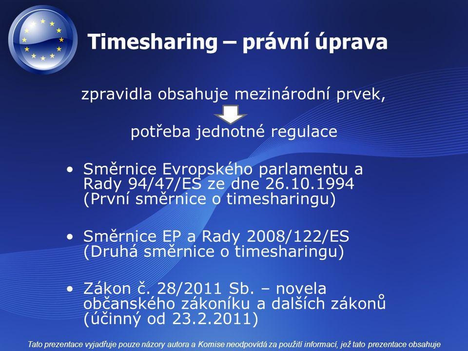 Timesharing – právní úprava