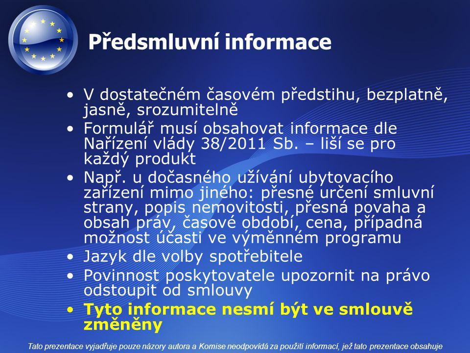 Předsmluvní informace