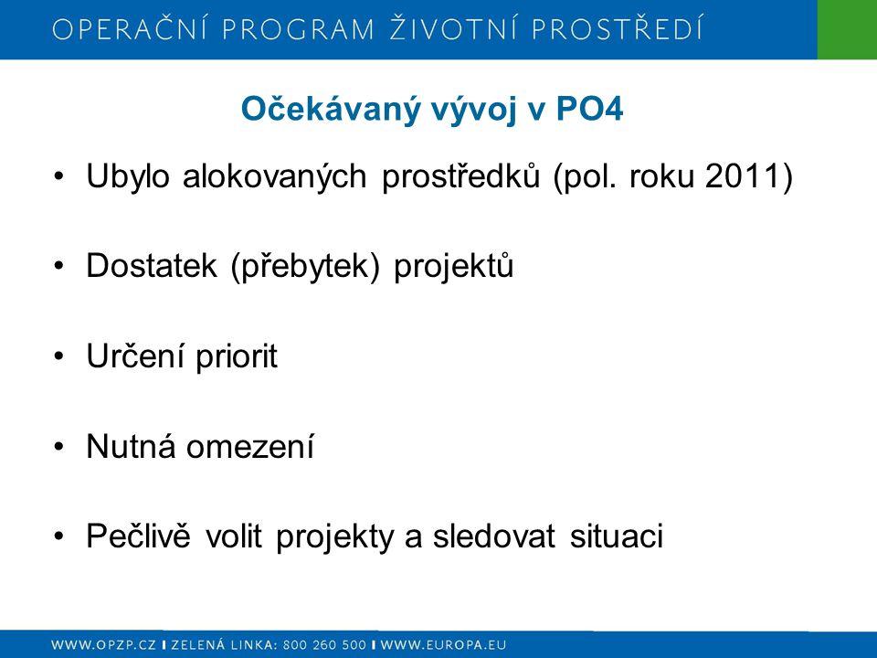 Očekávaný vývoj v PO4 Ubylo alokovaných prostředků (pol. roku 2011) Dostatek (přebytek) projektů. Určení priorit.