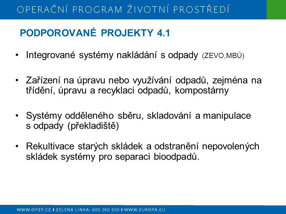 PODPOROVANÉ PROJEKTY 4.1 Integrované systémy nakládání s odpady (ZEVO,MBÚ)