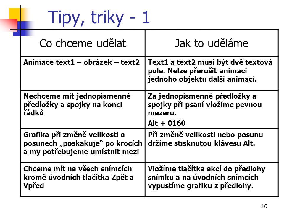 Tipy, triky - 1 Co chceme udělat Jak to uděláme
