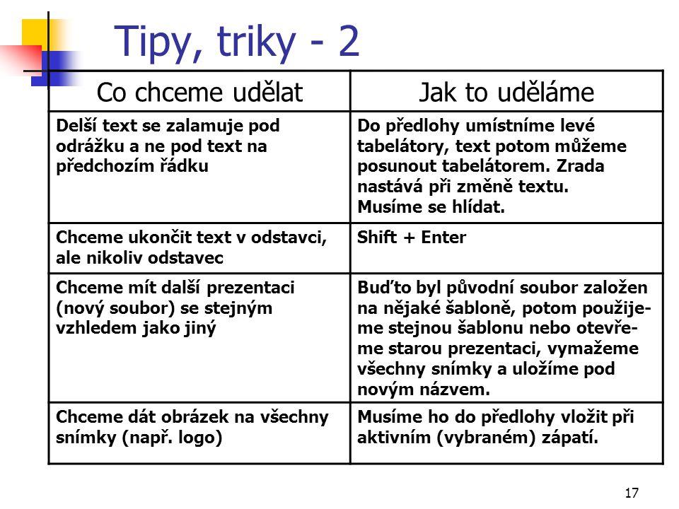 Tipy, triky - 2 Co chceme udělat Jak to uděláme