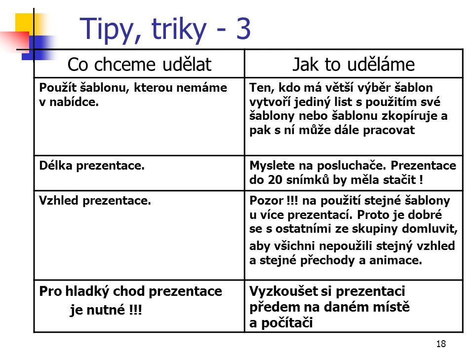 Tipy, triky - 3 Co chceme udělat Jak to uděláme