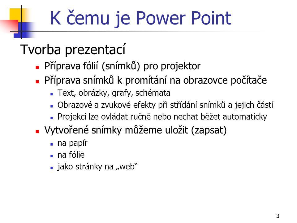 K čemu je Power Point Tvorba prezentací