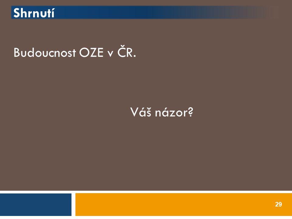 Shrnutí Budoucnost OZE v ČR. Váš názor