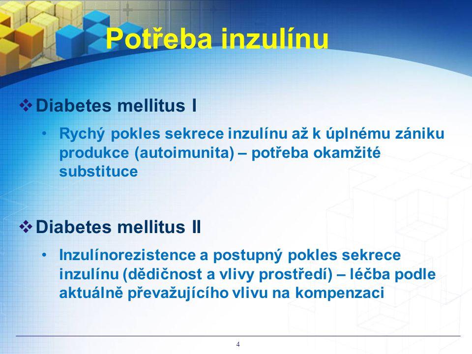 Potřeba inzulínu Diabetes mellitus I Diabetes mellitus II