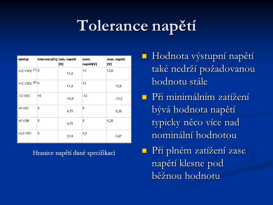 Tolerance napětí Hodnota výstupní napětí také nedrží požadovanou hodnotu stále.