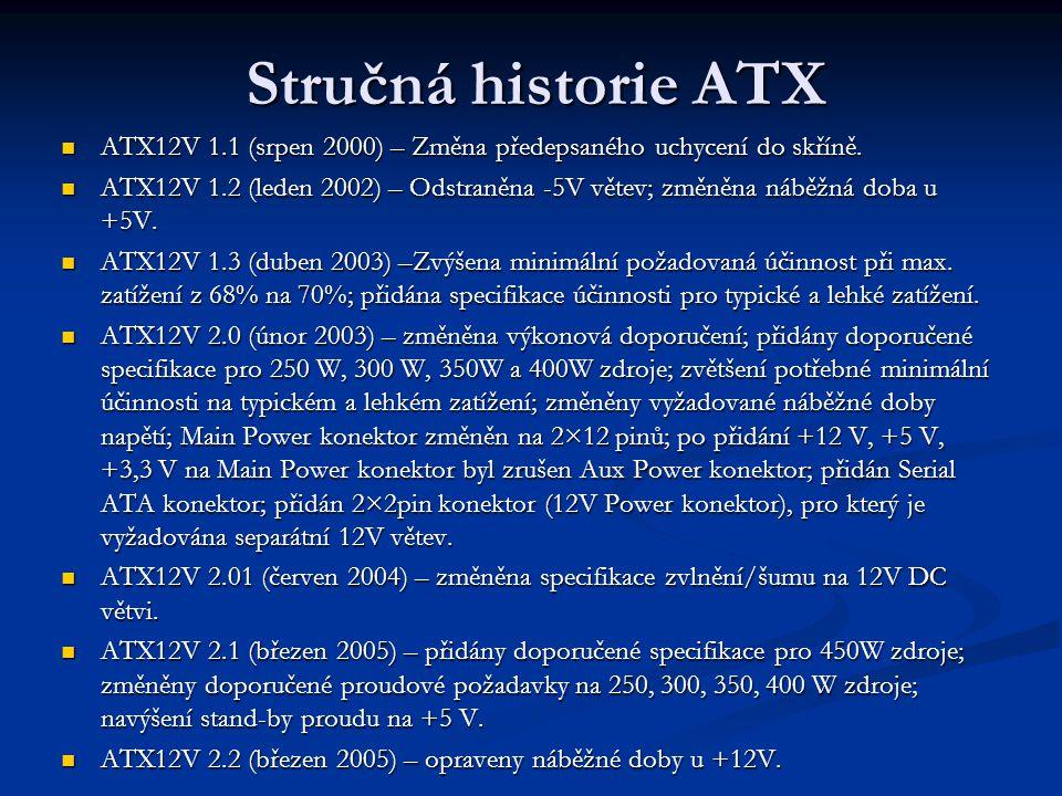 Stručná historie ATX ATX12V 1.1 (srpen 2000) – Změna předepsaného uchycení do skříně.