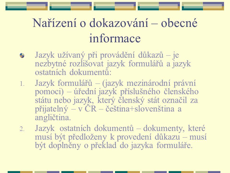 Nařízení o dokazování – obecné informace